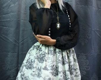 Toile Black and white Dress - Classic Lolita Jsk