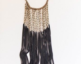 gold chain vintage 1920's costume jewelry flapper necklace with black chain tassels