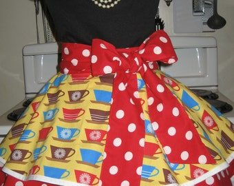 Coffee Time with Red Polka Dots Retro Vintage Inspired Ladies Fancy Hostess Half Apron