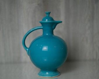 SALE Vintage Fiestaware Turquoise Carafe 1936-1947