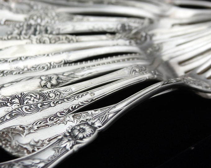 Vintage Ornate Flatware Set, Mixed Rare Unusual Art Nouveau Table Meal Place Setting, Kitchenware, Vintage Serving Silver unique flatware