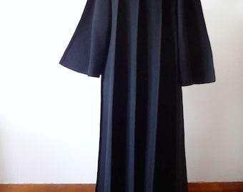 Pauline Trigere Dress Coat vintage black wool swing coat with angel sleeves - designer vintage opera jacket