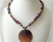 Tribal necklace, mixed beads with shell pendant, colorful beaded jewelry, Tribal Boho style necklace