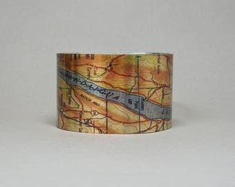 Canandaigua Lake New York Finger Lakes Map Cuff Bracelet Unique Gift for Men or Women