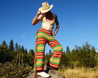 Crochet Pants Aztec Side Fringe XL