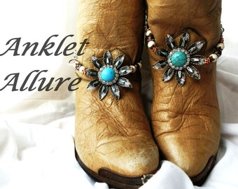 Turquoise Boot Chains BoHo Boot Chains Southwestern Boot Jewelry Flower Boot Bracelets Foot Jewelry