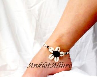 Cowrie Flower Anklet Beach Body Jewerly Black Beach Ankle Bracelet Double Anklet Flower Anklet Ocean Blue Cruise Vacation Beach Resort