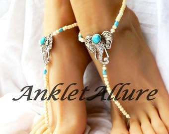 Vintage Anklets Tribal Barefoot Sandals Turquoise Anklets Safari Sandals