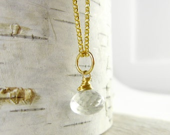 Md - Clear Quartz Pendant - Wire Wrapped Jewelry Handmade - Rock Crystal Quartz - Quartz Crystal Healing - 14k Gold Jewelry