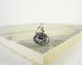 Black Tourmalinated Quartz Pendant - Black Tourmaline Jewelry - Black Rutilated Quartz Jewelry - Salt and Pepper Gemstone Jewelry