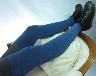 Sea Blue Thigh High Boot Socks Over the Knee Leg Warmers Cotton Cashmere Blend A1807