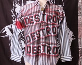 Punk Men's Shirt Button Up Long Sleeve Seditionaries Top 77 Sex Pistols Destroy Striped Blue Punk Rock Dress Shirt