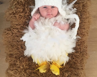Chicken Hat - Baby Hat -  Baby Chicken Hat  with Comb - Soft Chicken Hat - Soft Baby Costume Hat - by JoJosBootique