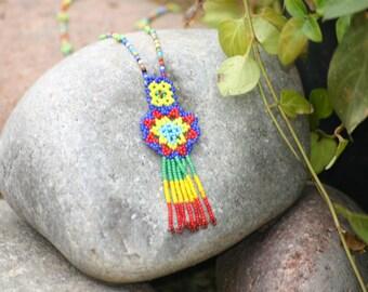 Huichol Medicine man Aztec Beaded Necklace, Southwestern Jewelry, Southwestern Beaded Necklace, Seed Bead Necklace, Valintine's day, Tribal