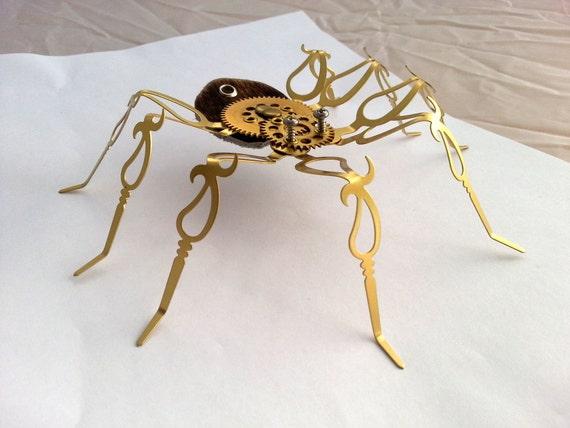 """Steampunk Art Spider """"Jean Claude"""" Sculpture Desk Decor Steamfunk Artwork by nogamalachi steampunk buy now online"""