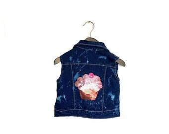 Sequin Cupcake Vest in Denim Acid Wash. Pink cupcakes little girls toddler tot children cute patch cherry bleach splatter hipster ooak