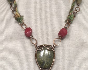 Hand Forged Bronze Red Jade and Green Unakite Cabochon Gemstone Pendant Adjustable Necklace by JeanineDesigns