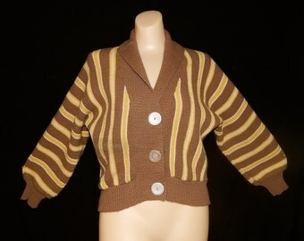 Vintage 50's brown yellow white striped knit Orlon cardigan sweater by Dupont Dolman sleeve V collar school girl bombshell - M / L / XL