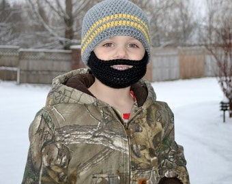 Crochet Baby Boy Beanie with Beard Hat - 3 months to 10 years - Heather Grey and Sunshine with Black Beard - MADE TO ORDER