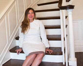 60s White Textured Poly Mod Dress
