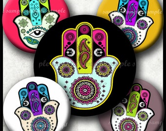 INSTANT DOWNLOAD Hamsa Hand (802) 4x6 Bottle Cap Images 1 inch Printable Digital Collage Sheet hair bows glass tile cabochon images