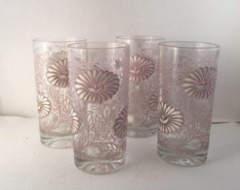 Todd Water Glasses, White & Taupe, Raised Textured, Flower Decals, Tumblers, Vintage Glassware