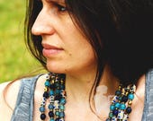 Blue Layered AfricanNecklace,Statement African beaded Necklace,Blue Elegant Handmade Necklace
