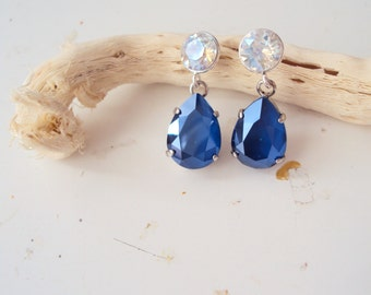 Royal Blue Earrings, Elegant, Swarovski,Bridal Jewelry, Evening Earrings, Rhinestones, Post Earrings, Glacier Blue, Statement, Sapphire Blue