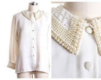 Vtg Heavy Pearl Collared Blouse size M