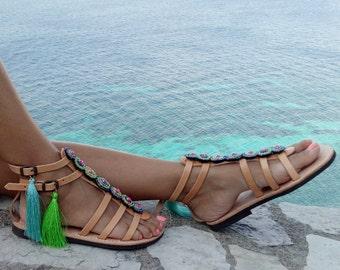 Gladiator Sandals, Greek Leather Sandals, Boho sandals, Pom Pom sandals