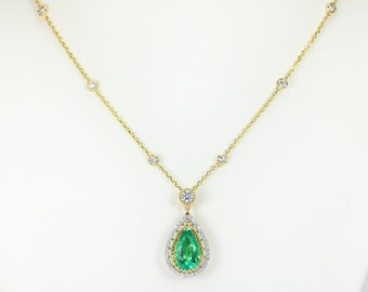 4.11 Cts Emerald Pear Necklace 14k, Emerald Necklace Emerald and Diamond Pendant, Natural Emerald and Diamond Necklace, May Birthstone Gem