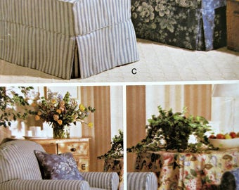 Butterick 510 Sewing Pattern, Butterick H510, Waverly Pattern, Slipcover Pattern, Box Pleats Chair Cover, Ottoman Cover, Home Dec Pattern