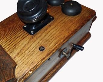 Antique Western Electric telephone hand crank wall mount writing shelf vintage phone