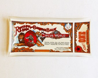 Vintage Ringling Brothers Barnum & Bailey Circus World Souvenir Glass Trinket Tray - Theme Park Souvenir - Haines City Florida - 1970s