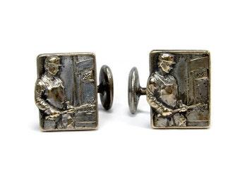 Antique Cuff Links, Steel Worker or Metal Worker, Union Cufflinks, Mens Jewelry, Vintage Cuff Links, Unusual Cuff Links, Silver Cuff Links