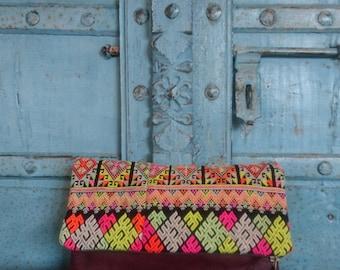 Sale/Brown Leather Vintage Hilltribe Fold over clutch Summer Fahsion bag Pom Charm