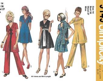 Simplicity 9149 Women's 70s Mini-Dress, Pants and Scarf Sewing Pattern Size 14, Bust 36.