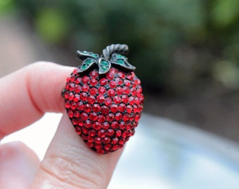 Yummy Strawberry Brooch by Weiss, Japanned with Rhinestones, 1950s