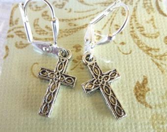 Stamped Cross Earrings Tibetan Silver Cross Earrings