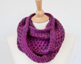 Plum, Alpaca Yarn, Crochet Infinity Circle Scarf