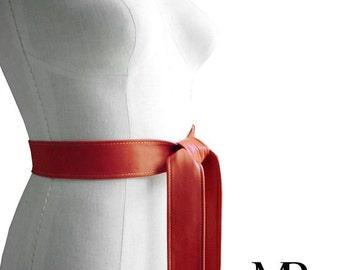 Leather belts women - Coat belt - Leather Sash Belt - Persimmon Orange Lambskin - Leather Tie Belt - Basic Leather Belt - S, M, L, custom