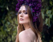 Purple 'Royal Iris' Beaded Floral Couture Headdress