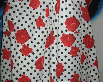 1980's Does 50s Polka Dot And Roses Skirt Full Pleated Cotton Deep Pockets Novelty Pin Up Hot Rod Valley Girl Rockabilly Vlv