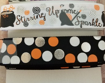 Stirring up some Sparkle, Halloween Ribbon, Grosgrain Ribbon, Hair Bows