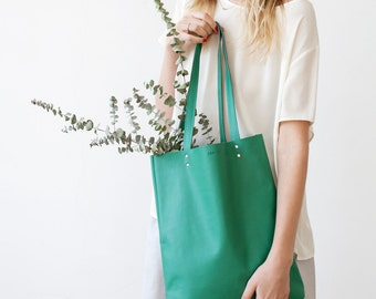 Clearance SALE Emerald Green Leather Tote bag No.tl- 9070