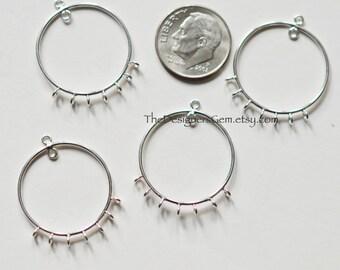 One Sterling Silver Earring Hoop, 22 x 18mm, Seven Loop Hoop, Silver Earring Hoop Finding