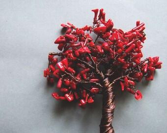 Tree of Life Sculpture, Wire Tree Decor, Copper Wire Tree Sculpture with Red Coral, Autumn Coral Wire Tree of Life Decor