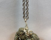 Raw Pyrite Pendant gift for her prosperityyoga boho chicMystical jewelery Power crystalsintentional jewellery reikiNatural Jewelery