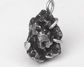 Campo del Cielo Iron Meteorite Fragment Pendant in Sterling Silver Prong Setting Approximately 21 Grams
