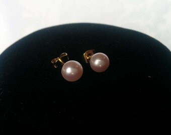 Pink Freshwater Pearl Earrings, Genuine Pearl Earrings, Pink Pearl